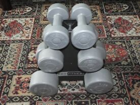 set of 6 dumbell weights (3 different sizes)
