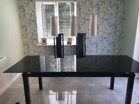 (Harvey's) Black Glass Extending Dining Table & 6 Chairs