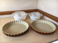 2 ceramic quiche dishes & 2 casserole dishes