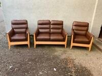 Oak framed brown leather sofa armchair suite * free furniture delivery *