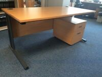 Desk (90cm x 160cm) and Pedestal Drawers (6 in total) £25.00