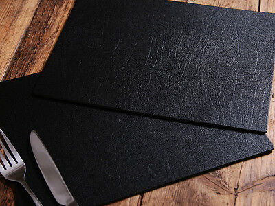 Set of 6 ARTISAN Black Leatherboard PLACEMATS, Made In UK TABLE MATS
