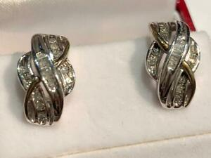 #195 10K WHITE GOLD CHANNEL SET DIAMOND OMEGA BACK EARRINGS - APPRAISED AT $1550, SELLING FOR $525