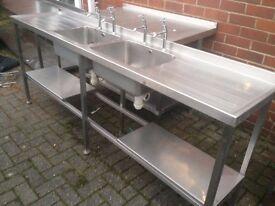 Double commercial sink ,shelf underneath,2 available 214 cm w, x 48cm deep x 90cm with taps bargain