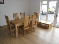 Oak Farmhouse Style dining table, 6 High back chairs with matching coffee table !!