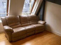 Cream leather 3 seater recliner sofa PLUS recliner chair OPEN TO OFFERS
