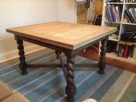 Solid oak extendable table top with barley twist legs