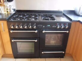 RANGEMASTER 110 DUAL FUEL COOKER BLACK AND CHROME