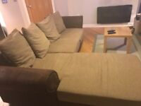 Brown corner sofa (with storage and sofa bed)