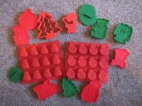 Christmas cookie cutters and silicone moulds - new no box