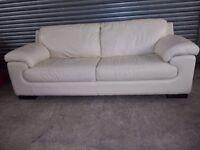 Luxury Cream Leather 3+2-seater Suite