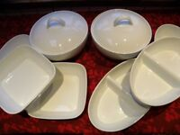 8 PIECE WHITE PORCELAIN SERVING DISHES TUREENS GREAT FOR CHRISTMAS TABLE
