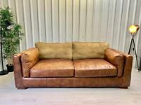 Next brown tan leather sofa - FREE DELIVERY