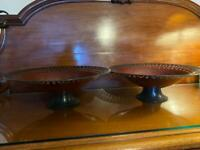 Pair of Laura Ashley burgundy ornamental stands