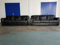 2 x 3 BLACK LEATHER 3 SEATER SOFA SET 2 x 3 SEATER SOFAS / SUITE / SETTEE DELIVERY AVAILABLE