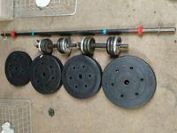 Barbell 5ft, dumbbells, weights 70 kg