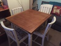 Renovated solid wood table and four chairs