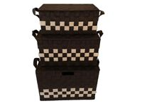 a set of 3 pieces Storage Picnic Laundry Basket with handle and Metal Frame