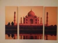 Large Taj Mahal 3 Piece Canvas