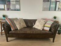 Halo Groucho Medium 2 Seater Leather Sofa, Antique Whisky