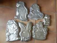 6 Wilton character tins: Playboy Bunny, Donald Duck+Cake, Paddington, Ninja Turtle, Frog, T Rex