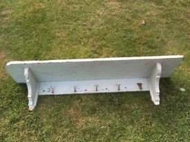French Vintage coat rack with hooks and shelf. All original