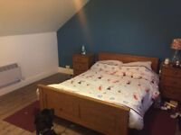 Double bed, mattress and matching bedside tables