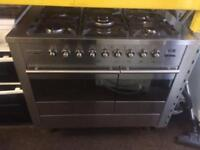 Stainless steel tecnik 100cm five burners dual fuel cooker grill & double fan ovens with guarantee
