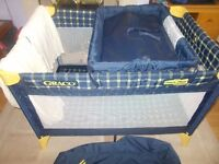 Graco Fold up Travel Cot with clip on changer