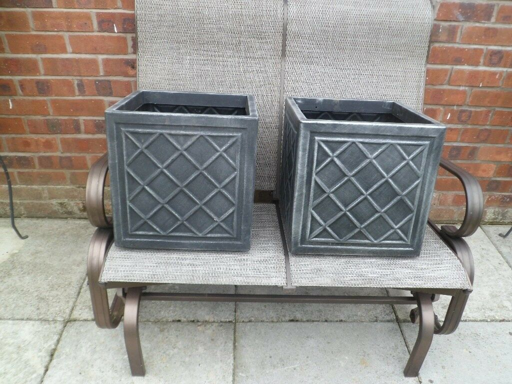 2 Square Pewter Effect Garden Planters In Lowton