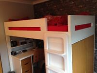 Kids ASPACE high bed with wardrobe and desk with 3 drawers