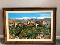 STUNNING UNIQUE CANVAS OIL PAINTING OF ALHAMBRA GRANADA PROVIDED WITH A BEAUTIFUL WOODEN FRAME