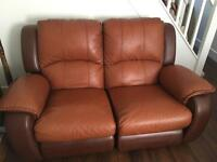 Brown leather recliner sofa (2 seater)