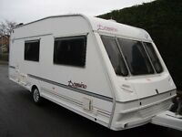 ABBEY 4 BERTH SPECIAL EDITION IMMACULATE CARAVAN WITH DOREMA AWNING, L-SHAPE SEATING