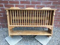 Vintage antique pine plate rack