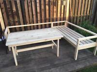 Handmade garden bench / corner sofa + table