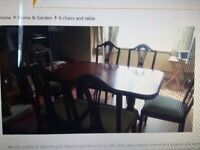 second hand 6 chairs and table