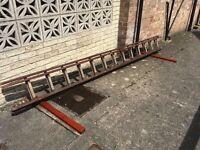 2 piece wooden extension ladder.