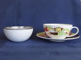 """Ritzenhoff """"My Tea"""" Bone China Teacup Saucer with Strainer and Drip Bowl - Brand New Unused"""