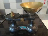 "Very Old Kitchen Scales ""The Viking"" With Some Weights"