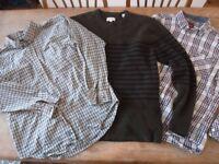 Job Lot - 2 Men's Shirts, 1 Men's Jumper, M L, Designer Merc Jack Wills Wrangler