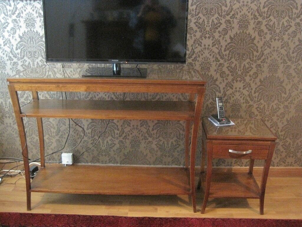 Dark Beech Wood Tv Stand 2 Matching Side End Tables With Inserted Gl Top