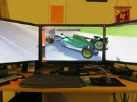 Triple Monitor setup & Desk Mount Pole - £550