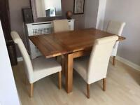 Extendable Oak Dining Table & 4 Chairs