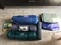 Camping (good condition) - 6 man, 3 man x2 tents, roll mat, 2 double air mattresses, water carrier