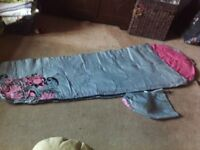 Good condition decathlon S10 grey and pink girls mummy style sleeping bag