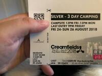 Creamfields silver 3 day camping ticket