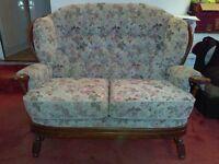 Joynson Holland oak frame arm chair and 2 seater sofa - with fire tags