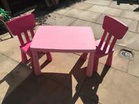 Kids pink ikea table and 2 chairs