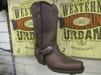 New Rare LOBLAN 548 Brown Waxy Leather Mens Cowboy Boots Classic Biker Square Chisel Toe